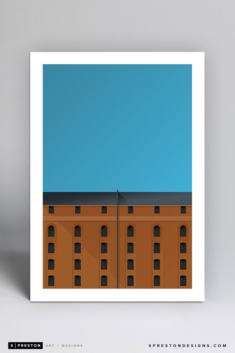 Minimalist Camden Yards Art Print - Baltimore Orioles - S. Preston Art + Designs