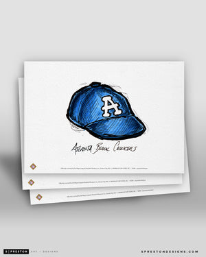 Atlanta Black Crackers Cap Ink Sketch Art Card