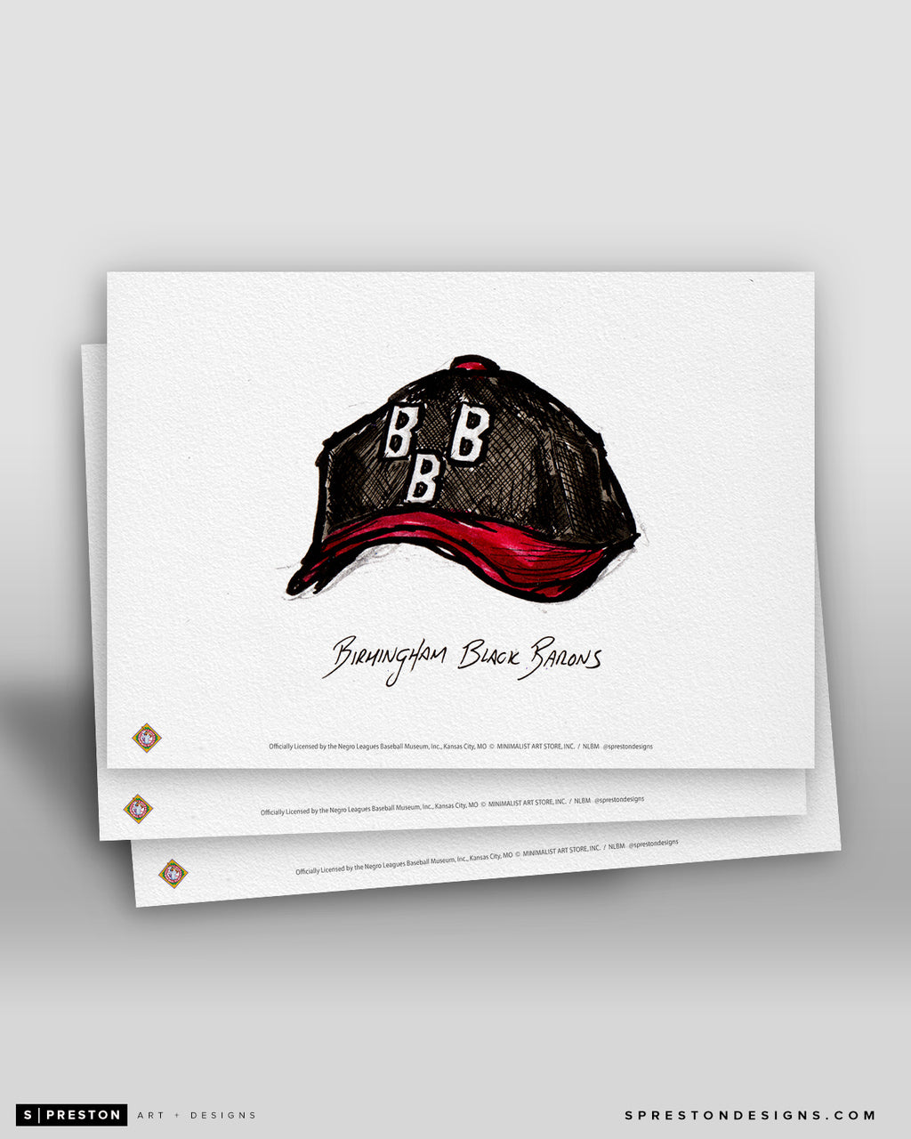 Birmingham Black Barons Cap Ink Sketch Art Card
