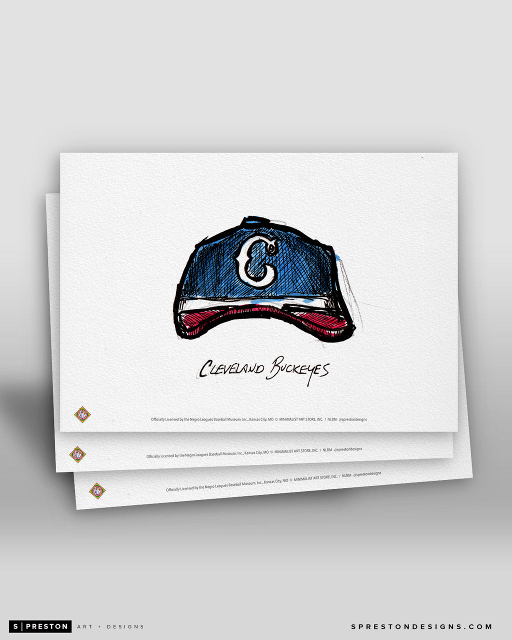 Cleveland Buckeyes Cap Ink Sketch Art Card