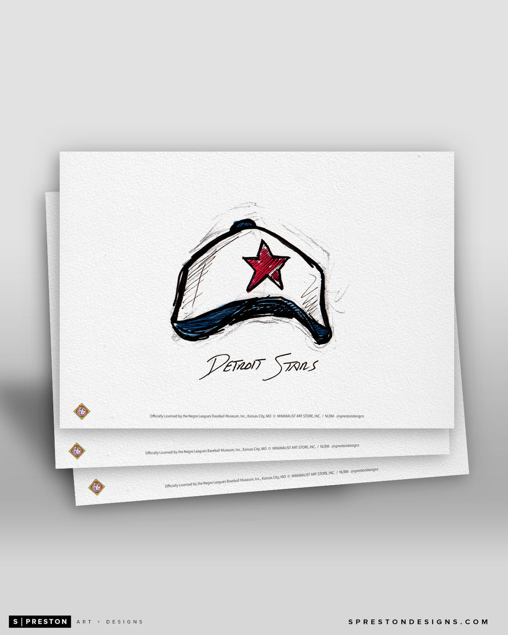 Detroit Stars Cap Ink Sketch Art Card