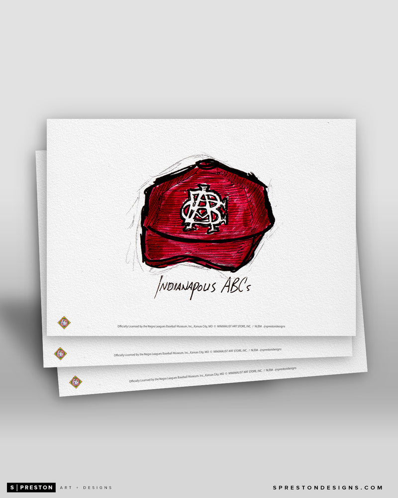 Indianapolis ABCs Cap Ink Sketch Art Card