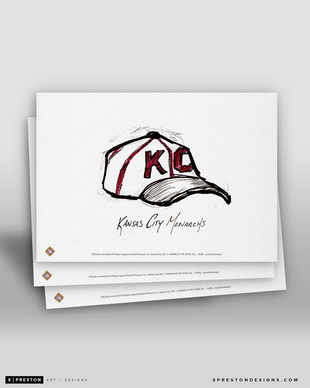 Kansas City Monarchs Cap Ink Sketch Art Card