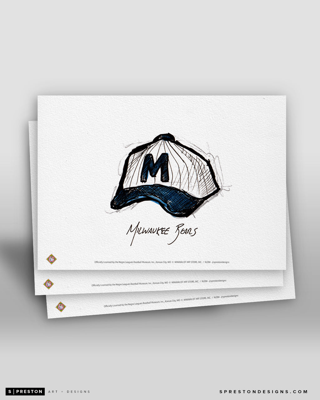 Milwaukee Bears Cap Ink Sketch Art Card