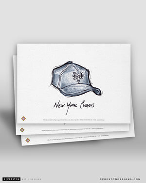 New York Cubans Cap Ink Sketch Art Card