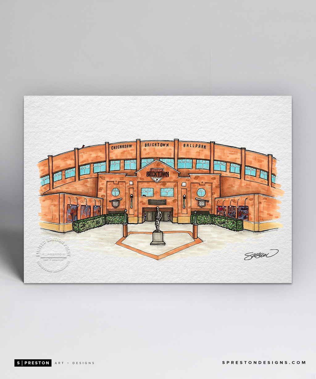 Chickasaw Bricktown Ballpark Sketch Illustration - Oklahoma City Limited Edition - Florida State University - S. Preston Art + Designs