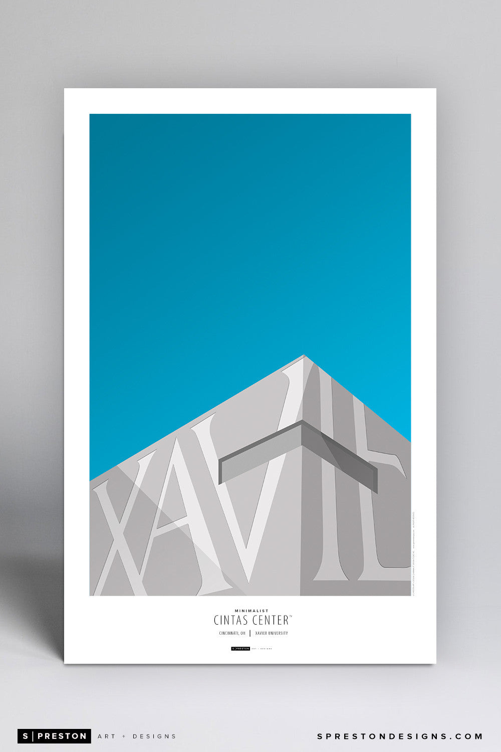 Minimalist Cintas Center Poster Print - Xavier University - S. Preston Art + Designs