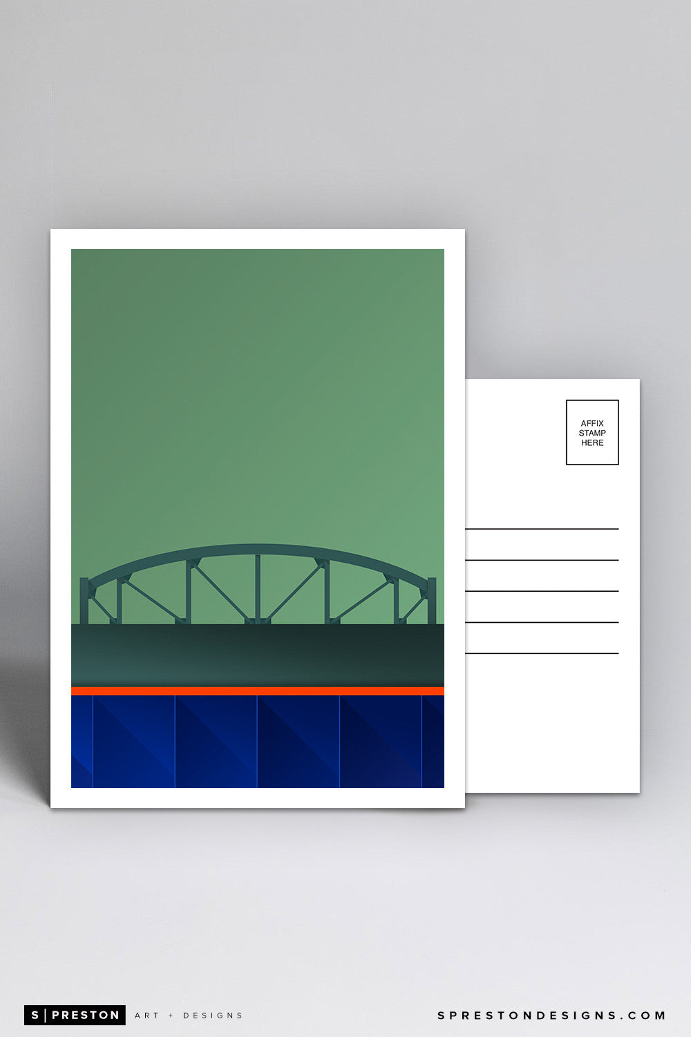Minimalist Citi Field Postcard (Shea Bridge) Postcard - New York Mets - S. Preston Art + Designs