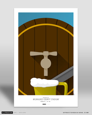 Minimalist County Stadium Poster Print Milwaukee Brewers - S Preston