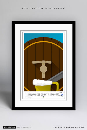 Minimalist County Stadium Art Print - Milwaukee Brewers - S. Preston Art + Designs