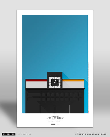 Minimalist Crosley Field Art Poster Art Poster - Cincinnati Reds - S. Preston Art + Designs