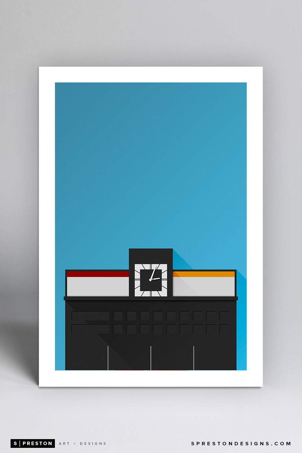 Minimalist Crosley Field Art Print - Cincinnati Reds - S. Preston Art + Designs