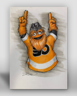 Gritty Mascot Sketch Original Art