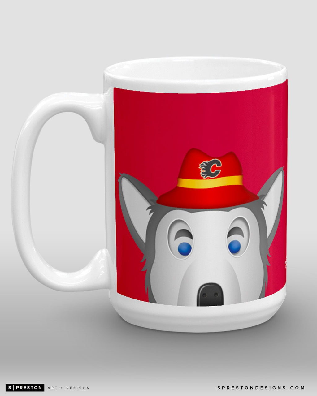 Minimalist Harvey The Hound Coffee Mug - NHL Licensed - Calgary Flames Mascot