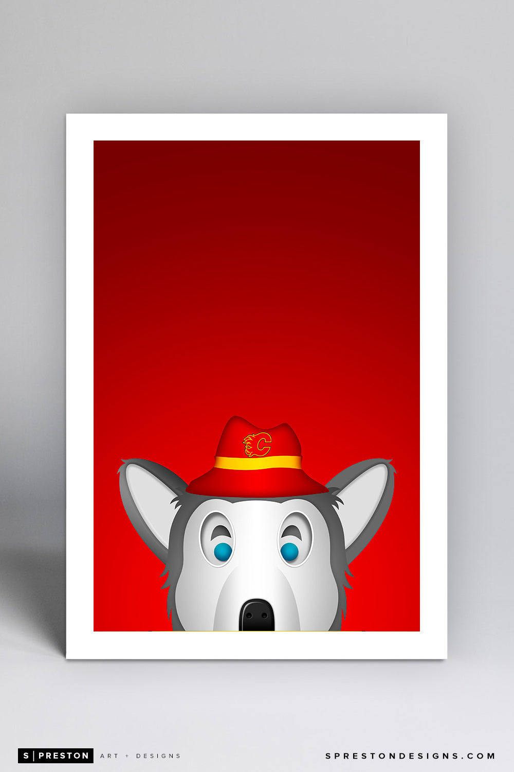 Minimalist Harvey The Hound Art Print - Calgary Flames - S. Preston Art + Designs
