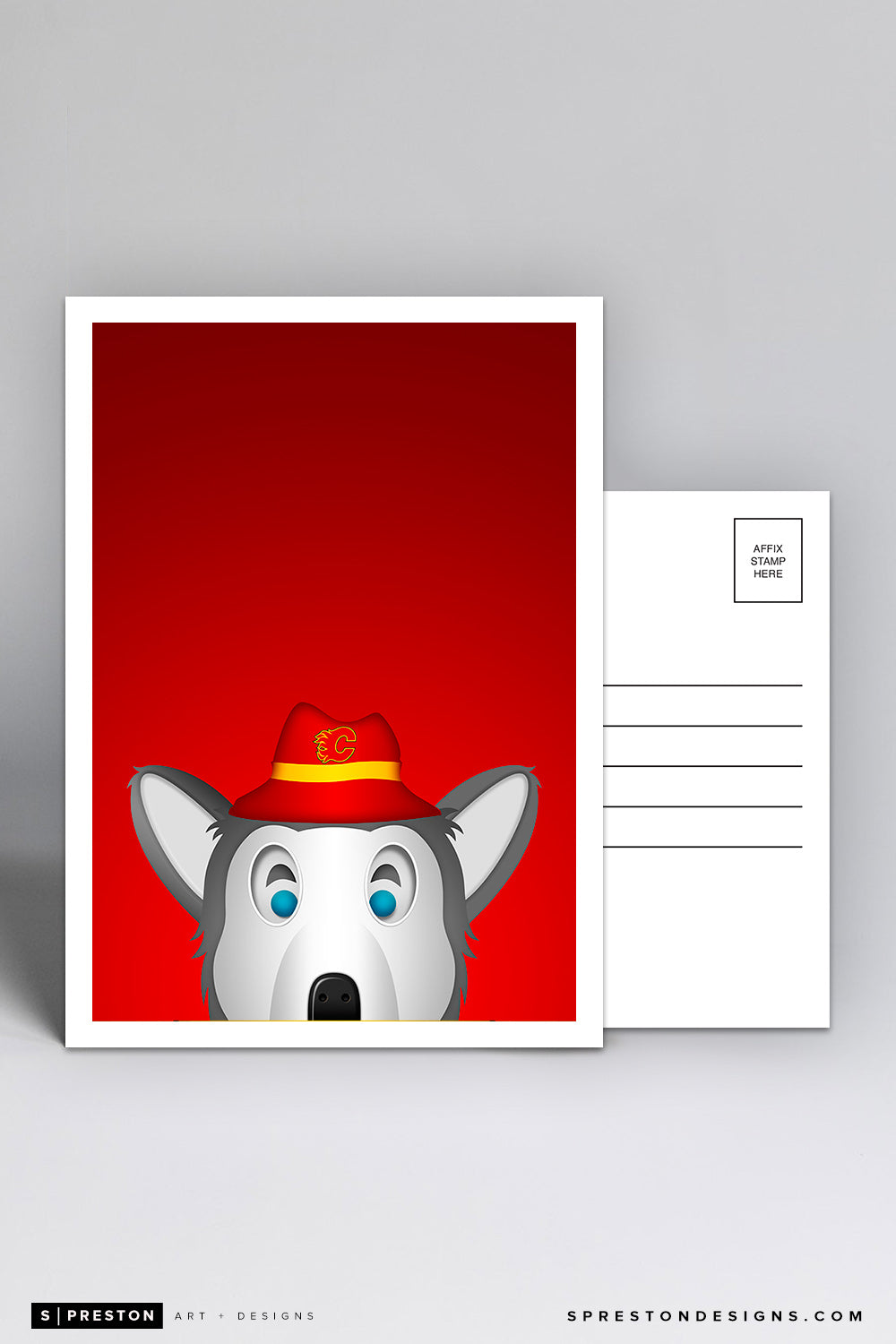 Minimalist Harvey The Hound Postcard Postcard - Calgary Flames - S. Preston Art + Designs