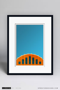 Minimalist Hinkle Fieldhouse - Butler Art Print - Butler University - S. Preston Art + Designs