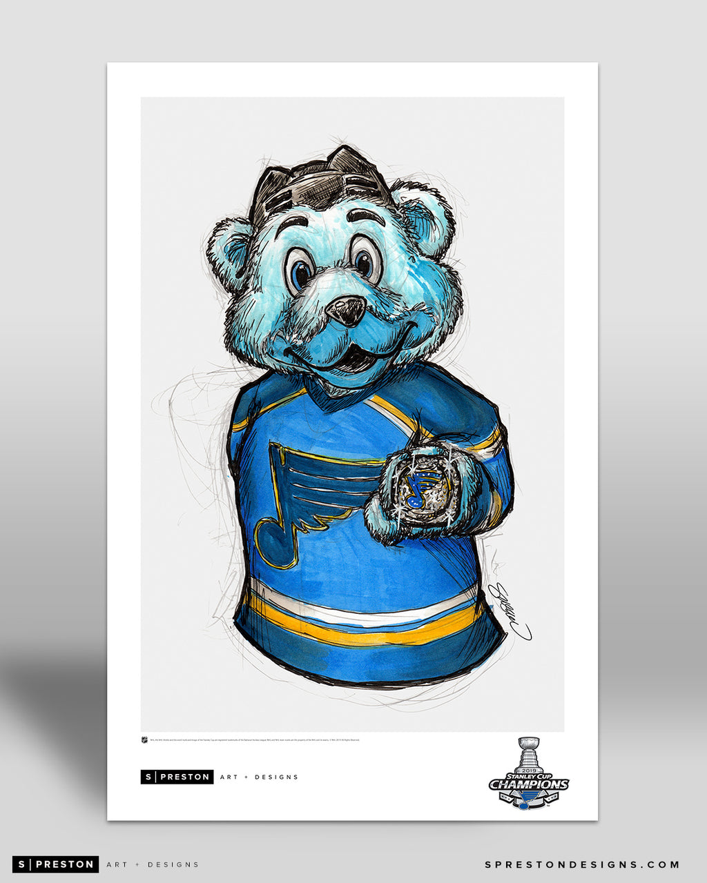 Louie Mascot Ink Sketch Print