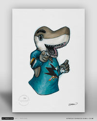 S.J. Sharkie -San Jose Sharks Mascot Ink Sketch Print