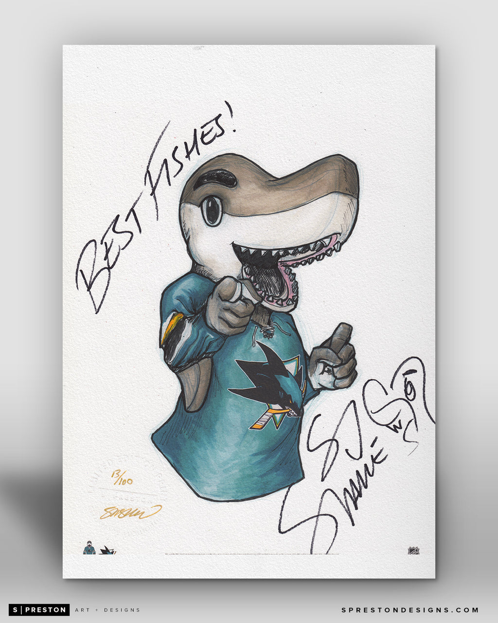 SJ Sharkie Mascot Sketch Fine Art Print - Signed