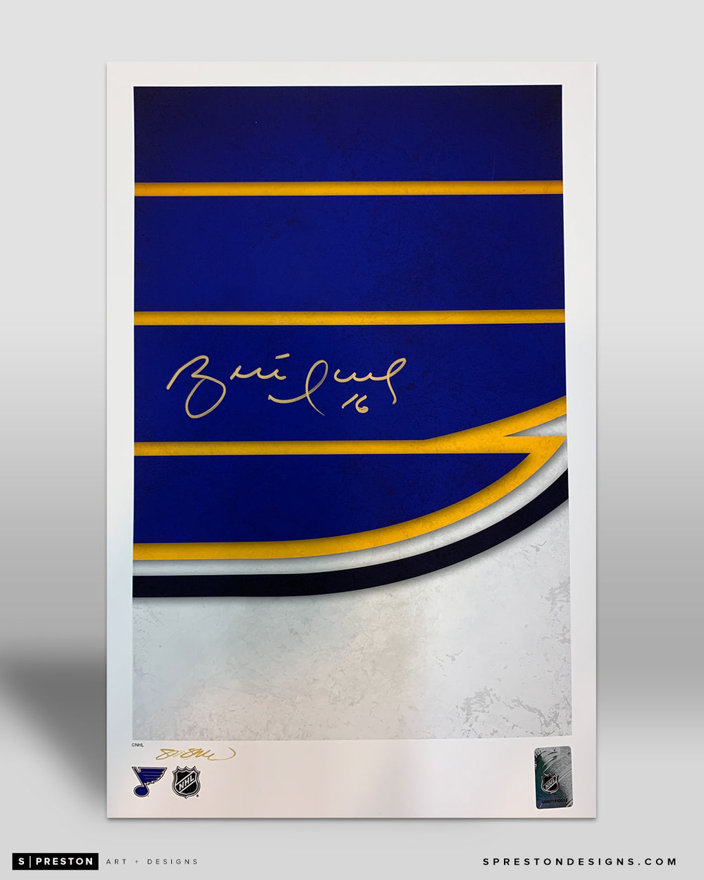 Minimalist St. Louis Blues Logo Art Poster - Brett Hull Signed