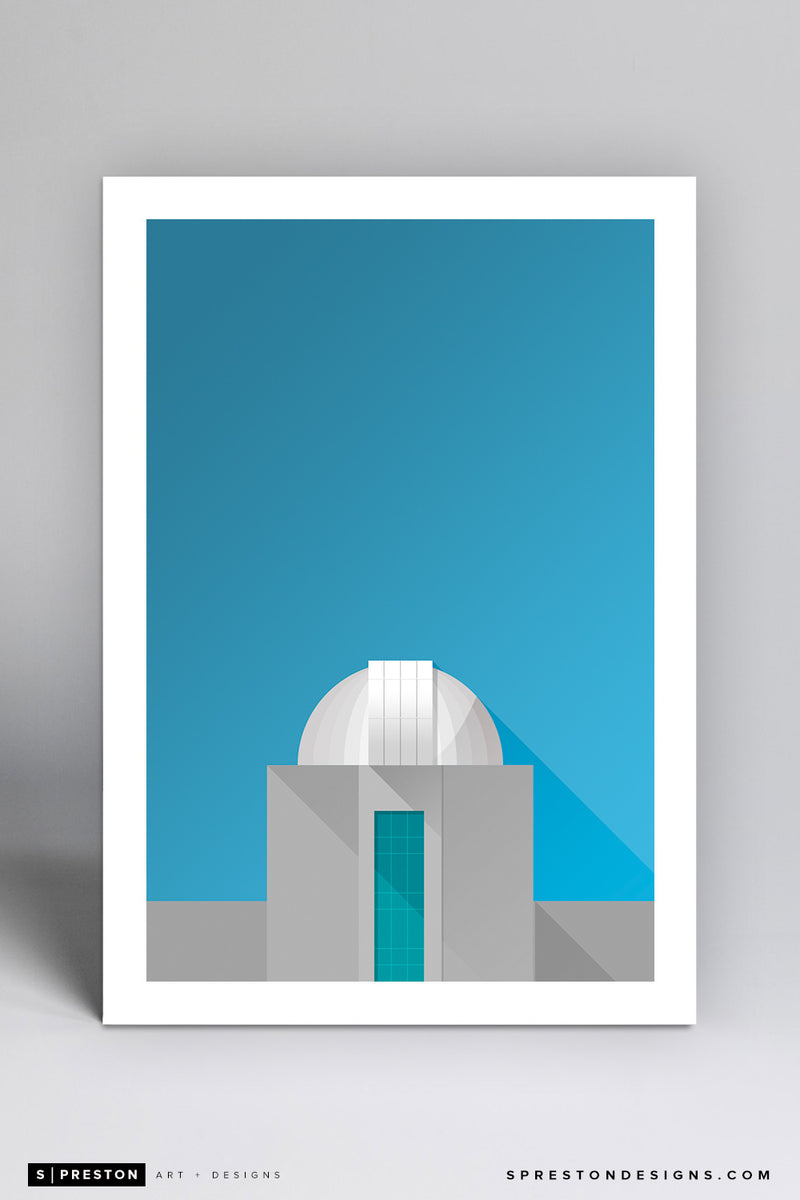 Minimalist Holcomb Observatory - Butler Art Print - Butler University - S. Preston Art + Designs