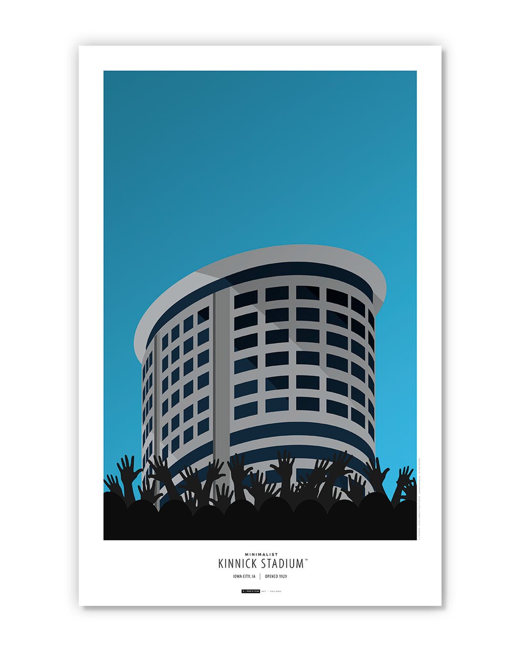 Minimalist Kinnick Stadium Poster Print (The Wave)