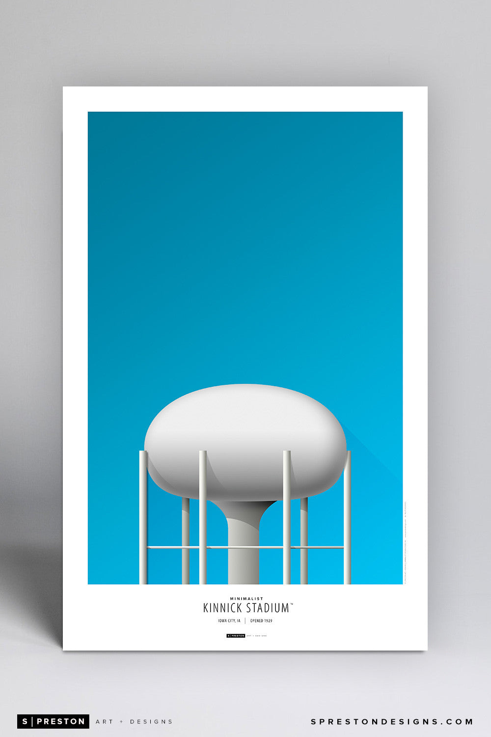 Minimalist Kinnick Stadium Poster Print - University of Iowa - S. Preston Art + Designs