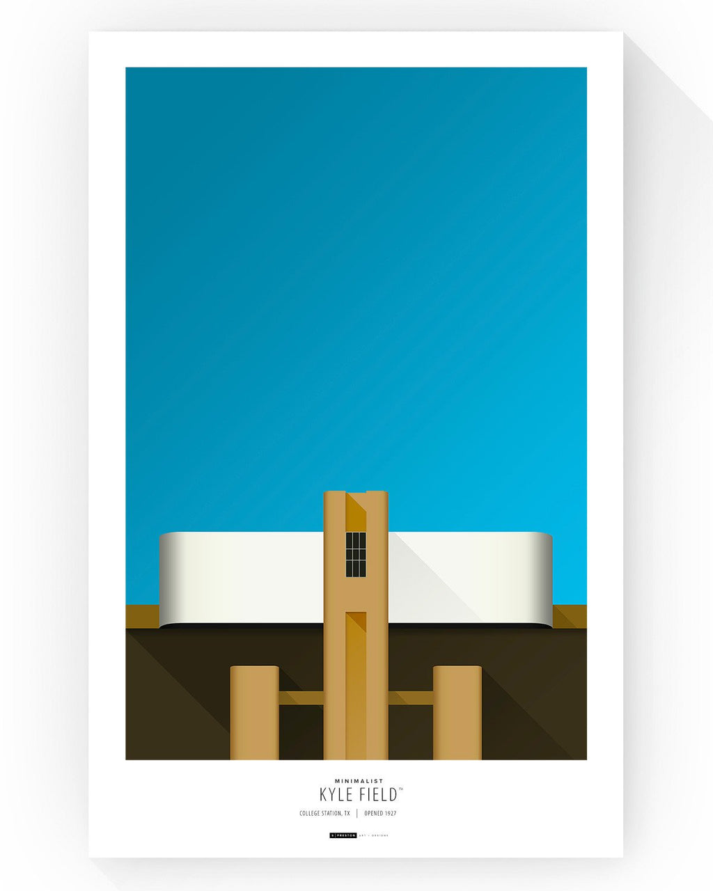 Minimalist Kyle Field Poster Print - Texas A&M - S. Preston Art + Designs