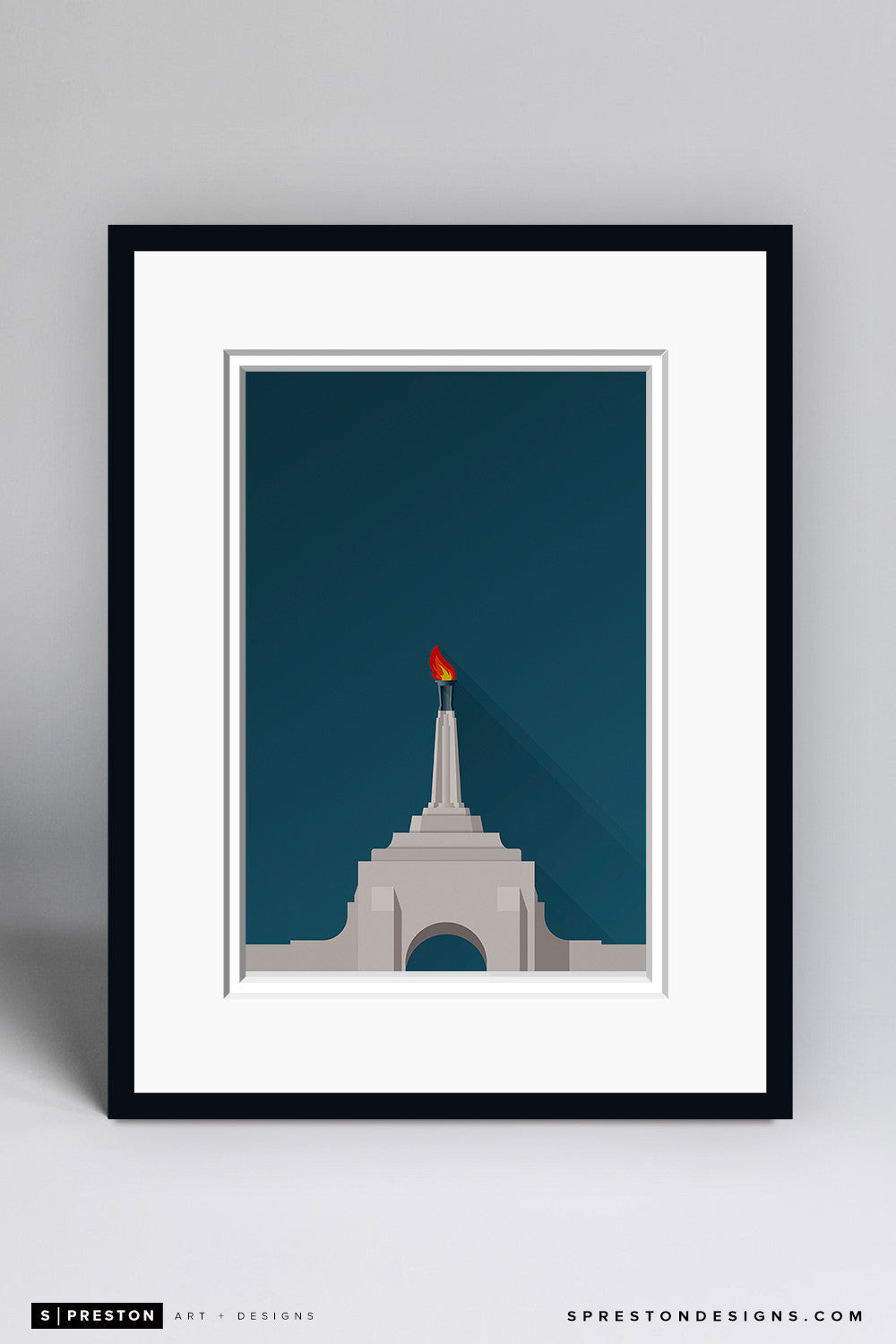 Minimalist LA Memorial Coliseum Art Print - USC - S. Preston Art + Designs