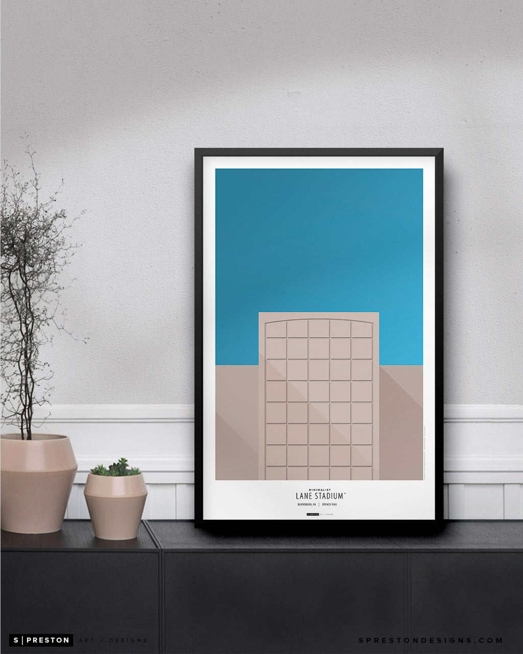 Minimalist Lane Stadium Poster Print Virginia Tech University - S Preston