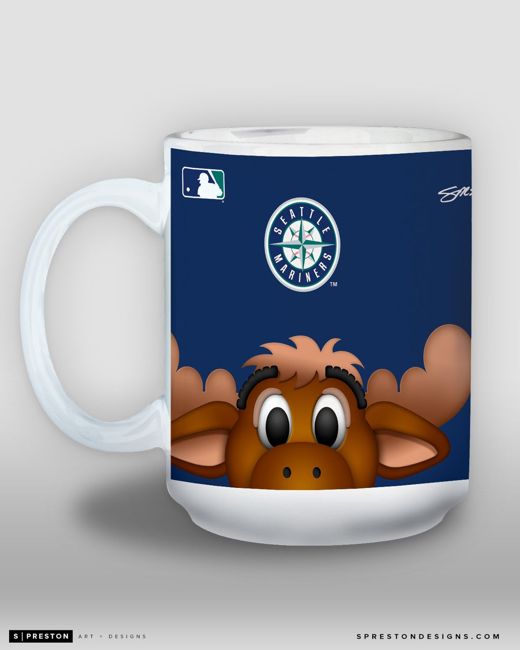 Minimalist Mariner Moose Coffee Mug - MLB Licensed - Seattle Mariners Mascot