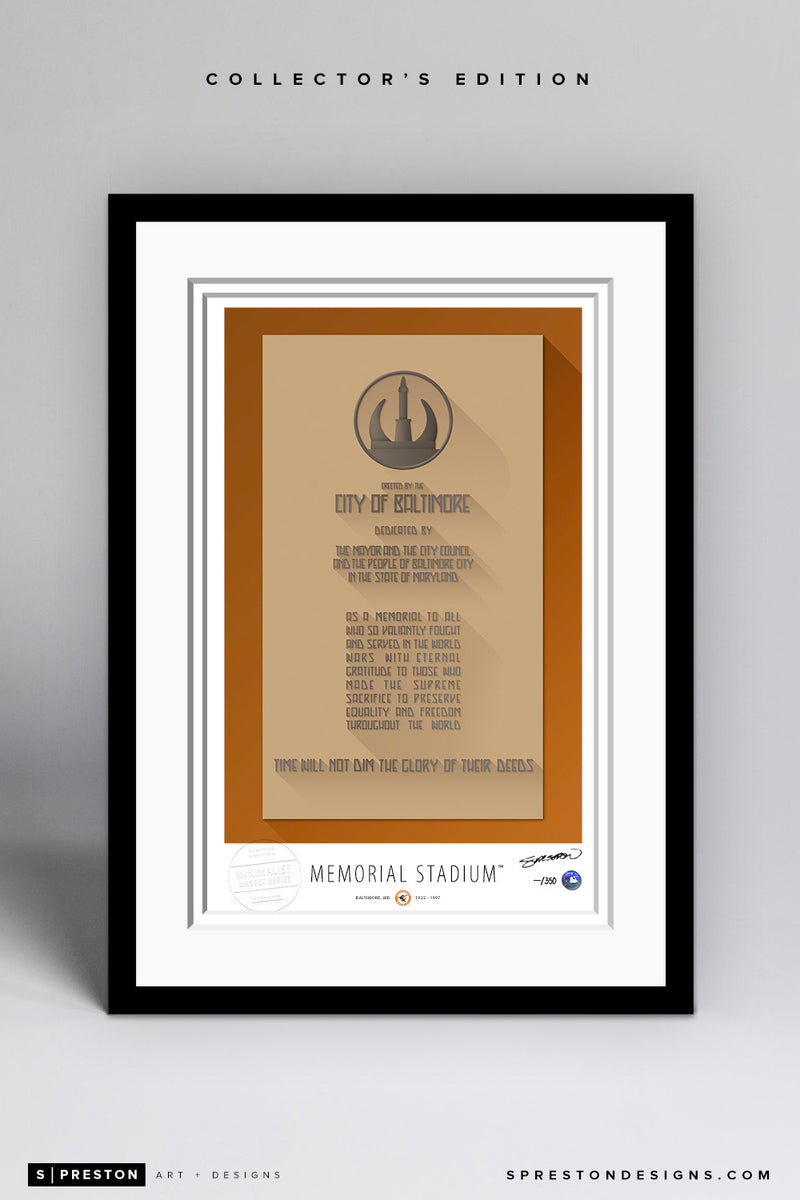 Minimalist Memorial Stadium Art Print - Baltimore Orioles - S. Preston Art + Designs