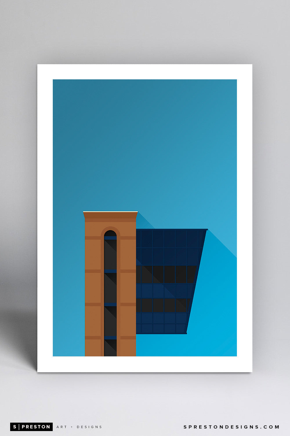 Minimalist Michigan Stadium (Pressbox) Art Print - University of Michigan - S. Preston Art + Designs