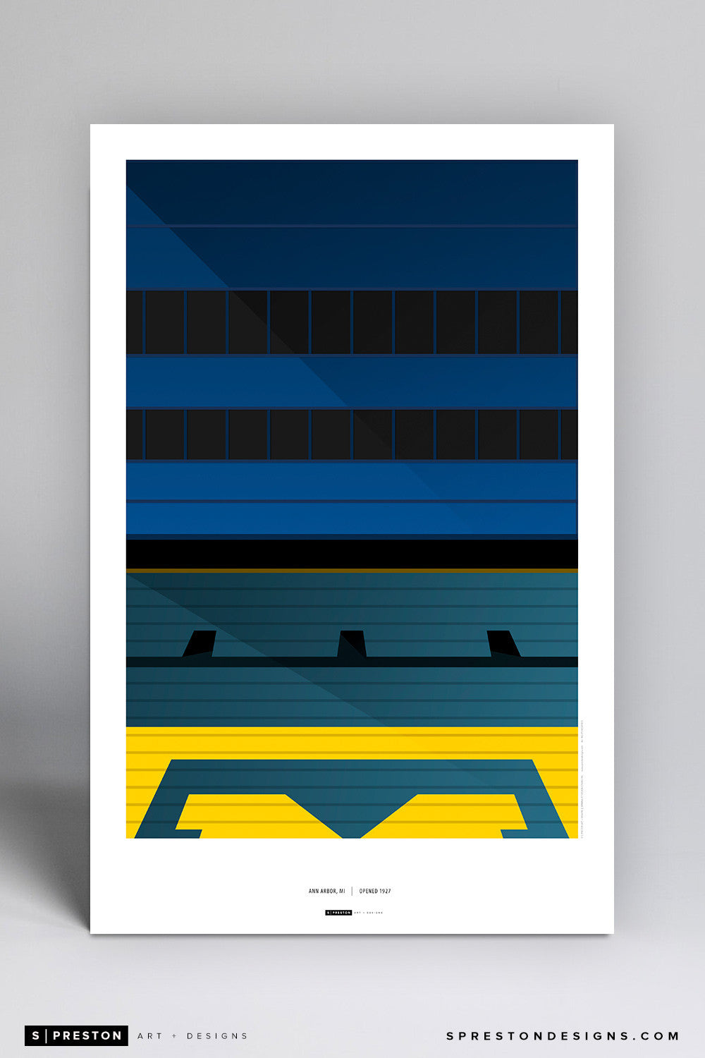 Minimalist Michigan Stadium Art Poster (Grandstand) Art Poster - University of Michigan - S. Preston Art + Designs