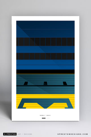 Minimalist Michigan Stadium Art Poster (Grandstand)