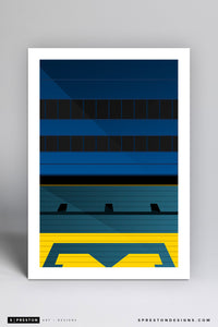 Minimalist Michigan Stadium (Grandstand) Art Print - University of Michigan - S. Preston Art + Designs
