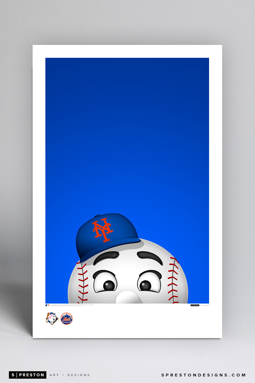 Minimalist Mr. Met Art Poster Art Poster - New York Mets - S. Preston Art + Designs