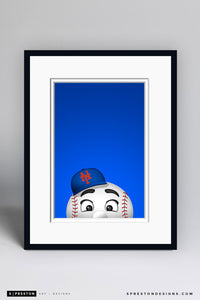 Minimalist Mr. Met Art Print - New York Mets - S. Preston Art + Designs
