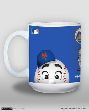 Minimalist Mr. Met Coffee Mug - MLB Licensed - New York Mets Mascot