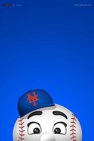 Minimalist Mr. Met Print - MLB Licensed Baseball Art - New York Mets Mascot