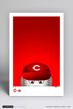 Minimalist Mr. Reds Art Poster Art Poster - Cincinnati Reds - S. Preston Art + Designs