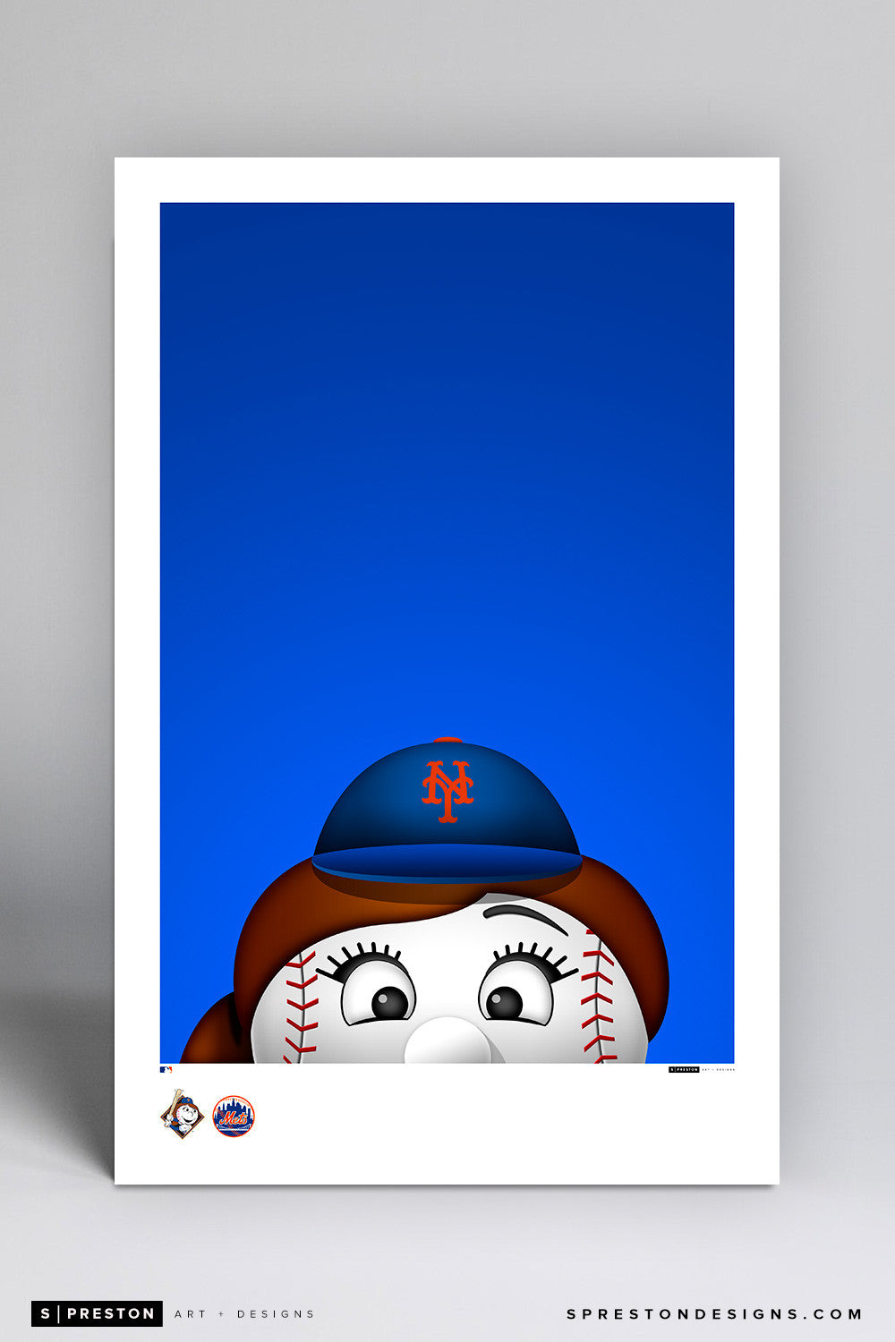 Minimalist Mrs. Met Art Poster Art Poster - New York Mets - S. Preston Art + Designs