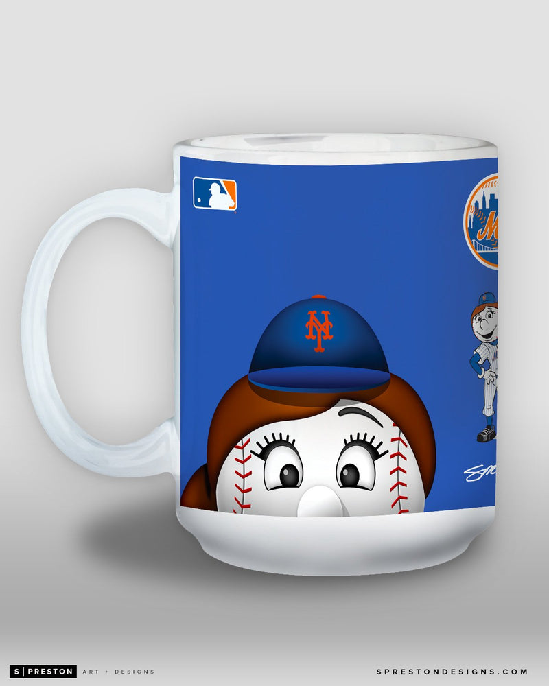 Minimalist Mrs. Met Coffee Mug - MLB Licensed - New York Mets Mascot