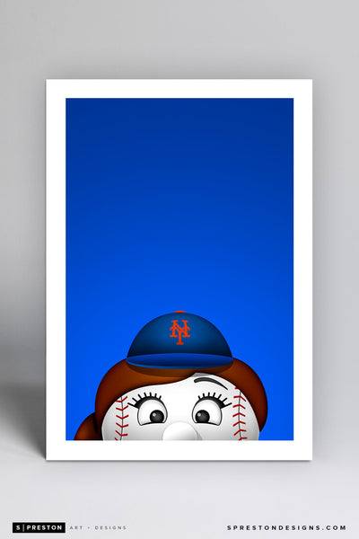 Minimalist Mrs. Met Art Print - MLB Licensed Baseball Art - New York Mets Mascot