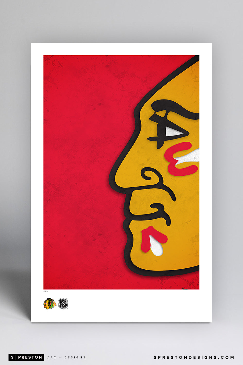 Minimalist Logo - Chicago Blackhawks Art Poster