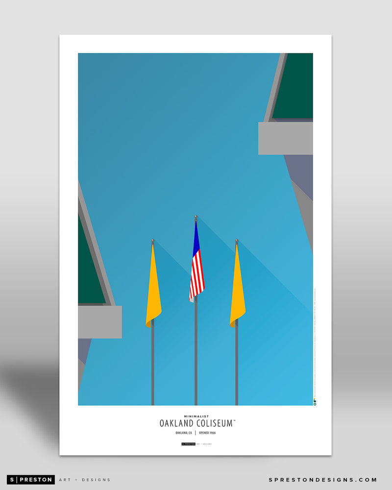 Minimalist Oakland Coliseum Poster Print (Flags) Oakland Athletics - S Preston
