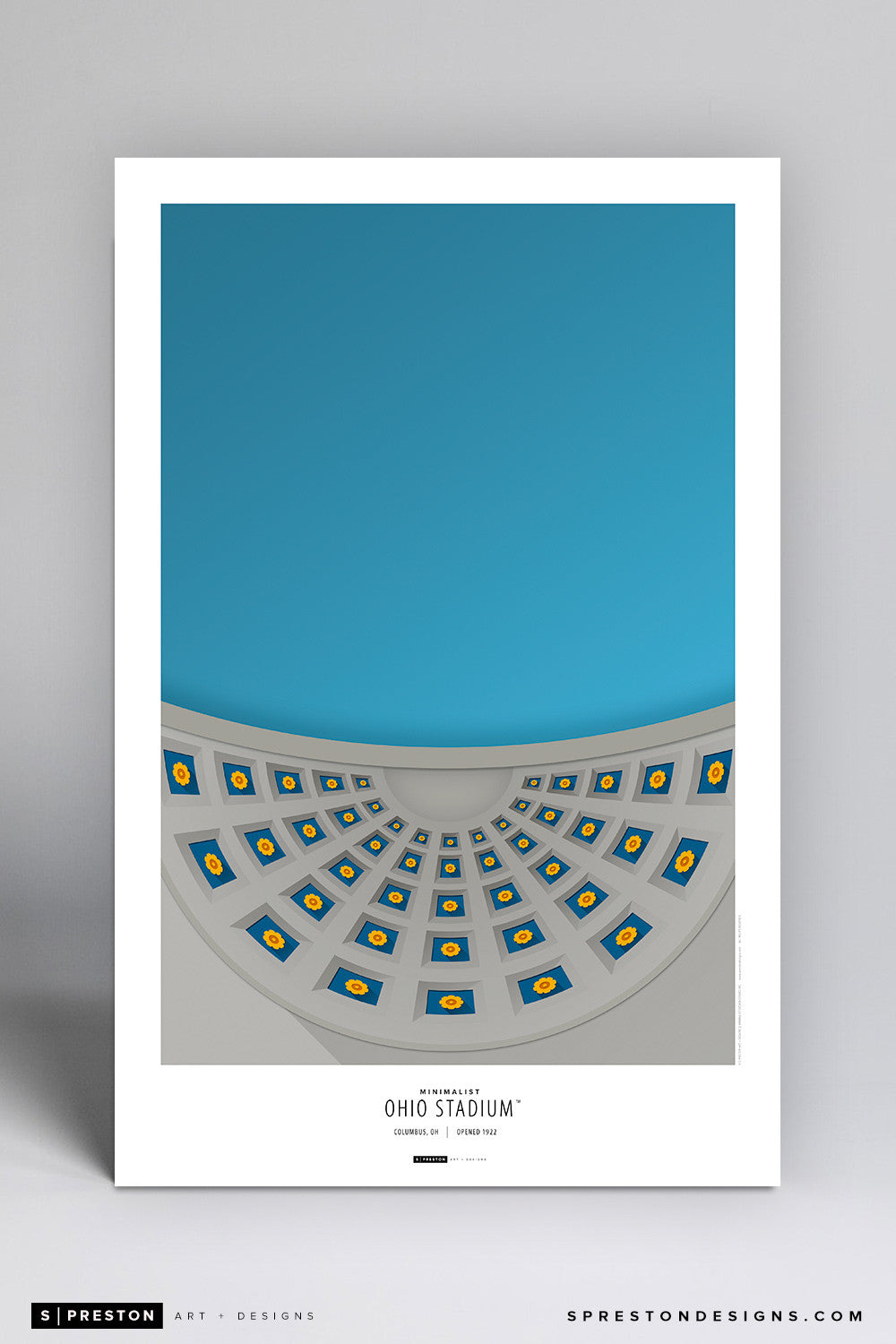 Minimalist Ohio Stadium Poster Print - Ohio State University - S. Preston Art + Designs