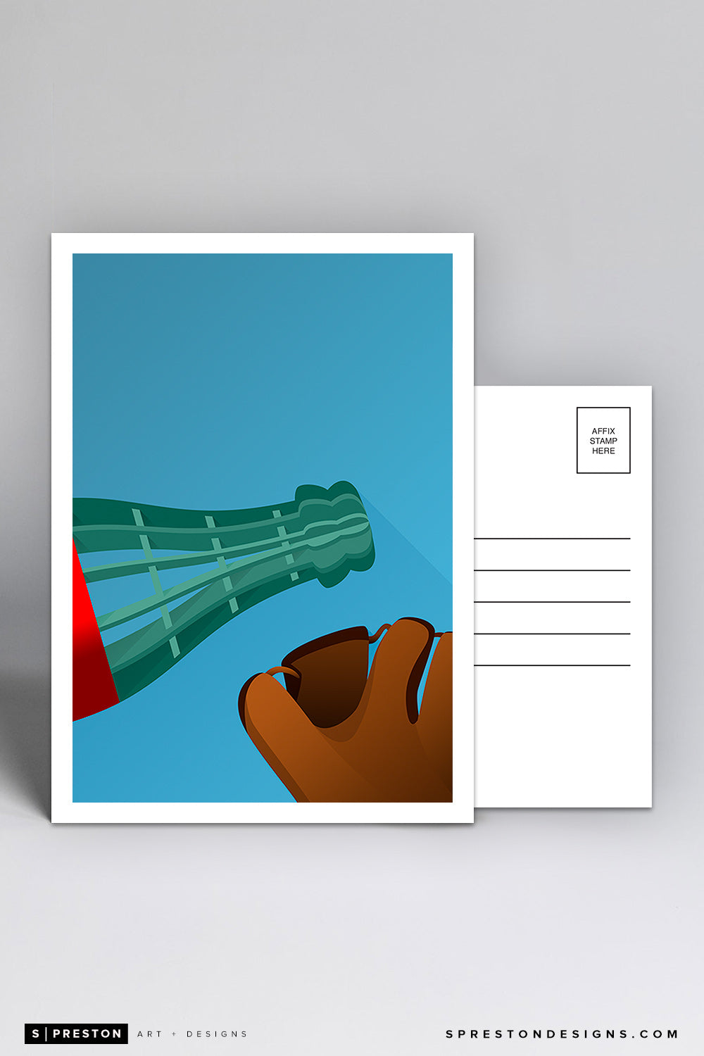 Minimalist Oracle Park Postcard (Bottle and Glove)