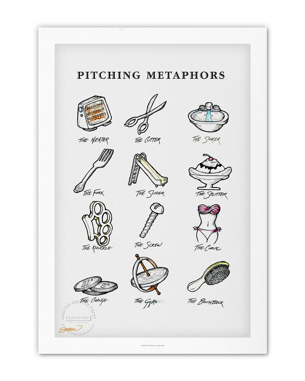 Pitching Metaphors Sketch Print
